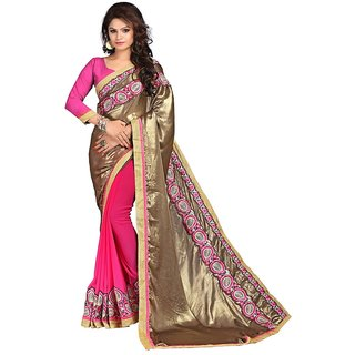 Karishma Gold  Magenta Satin Heavy Patch Work Saree
