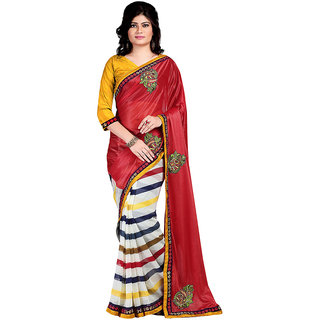 Karishma Printed Red  Cream Lycra Saree