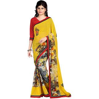 Karishma Printed Yellow  Black Chiffon Saree