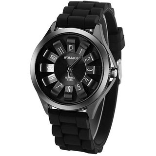 Round Dial Black Rubber Strap Women Quartz Watch