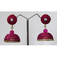 Dark Pink Thread Jhumki Earring