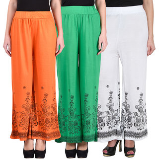 NumBrave Orange Green White Viscose Printed Palazzos (Pack of 3)