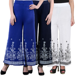 NumBrave Blue Blue White Viscose Printed Palazzos (Pack of 3)