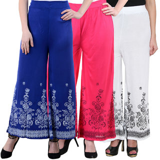 NumBrave Blue Pink White Viscose Printed Palazzos (Pack of 3)