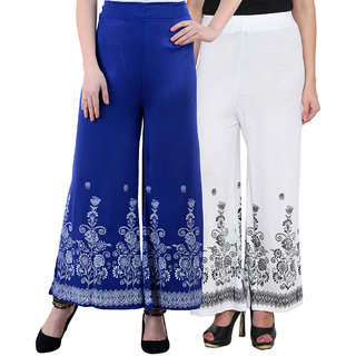 NumBrave Blue White Viscose Printed Palazzos (Pack of 2)