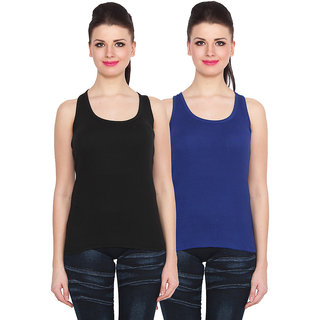 NumBrave Black Blue Cotton Round Neck Sleeveless Racer Back Top (Pack of 2)
