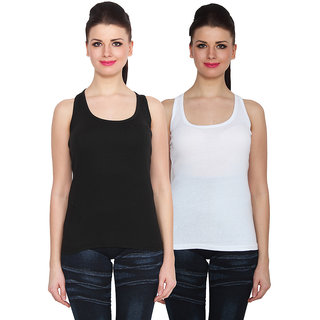 NumBrave Black White Cotton Round Neck Sleeveless Racer Back Top (Pack of 2)