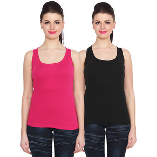 NumBrave Pink Black Cotton Round Neck Sleeveless Racer Back Top (Pack of 2)