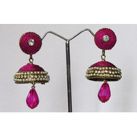 Dark Pink Drop Thread Earring
