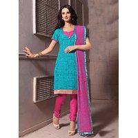 Swaron Blue and Dark Pink Chanderi Embroidered Party Wear Saree 284D4007
