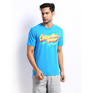 CAT Men Blue Printed Original Fit T-shirt - XL