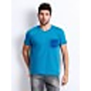 Men Blue Printed T-shirt Slim Fit XXL