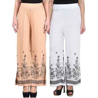 NumBrave Beige White Viscose Printed Palazzos (Pack of 2)