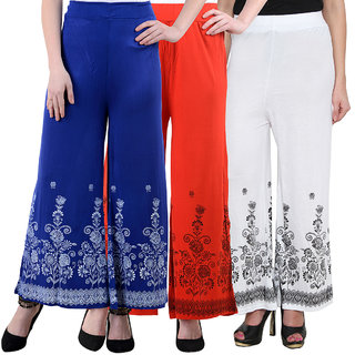 NumBrave Blue Red White Viscose Printed Palazzos (Pack of 3)