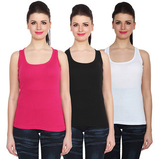 NumBrave Multicolor Cotton Round Neck Sleeveless Racer Back Top (Pack of 3)