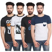 Stylogue Men's Multicolor Round Neck T-shirt