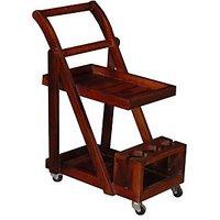 Altavista Trolley Bar Cabinet (Honey Oak Finish)