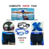 Imported Swimming Pack Costume+ Goggles+  Caps+ Ear Plug,Waist=28' - 30''