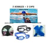 Imported Swimming 2 Caps  2 Goggles 2 Ear Plug Free Best Quality