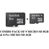 COMBO PACK OF SANDISK 8GB MICRO SD 10 PCS & Free 4GB MICRO SD 5PCS