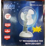 Akari 12 Inch Rechargeable Fan With LED Light