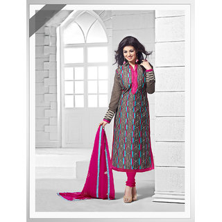 Thankar Dark Khakhi, Sky And Pink Embroidered Chanderi Silk Straight Suit