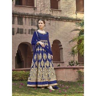 Thankar Navy Blue  Beige Embroidered Banglori Silk Anarkali Suit