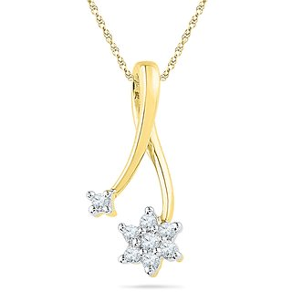 Ishis 18 Kt Artistic Yellow Gold Diamond Fashion Pendants (0.08 CT)