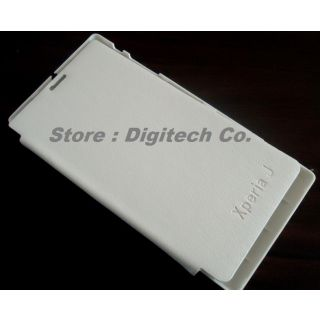 Leather Slim Flip Cover Case Folio Book Cover Battery Door Flap Style For Sony Xperia S Xperias Sl Lt26i White Color Clone