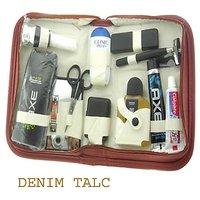Brand New Shaving Kit Travel Bag Pack Men's (DENIM TALC)
