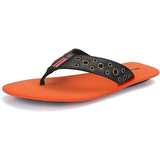 Sharon Men's Black & Orange Sandals