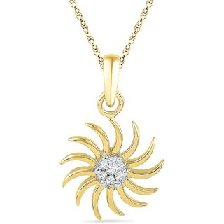 Ishis 18 Kt Traditional Yellow Gold Diamond Fashion Pendants (0.08 CT)
