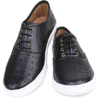 Do Bhai WomenS Black Casual Lace-Up Shoes