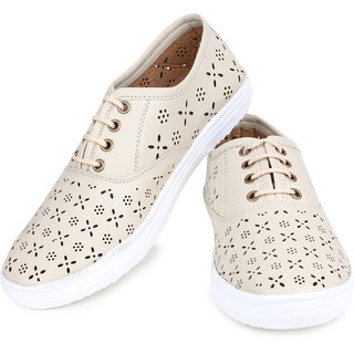 Do Bhai WomenS Cream Casual Lace-Up Shoes