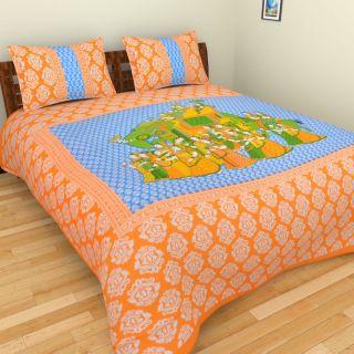 Cotton Jaipuri  Sanganeri Print Bedsheet King