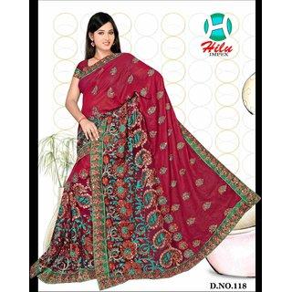 Hilu impex art silk singal desine emroidery saree