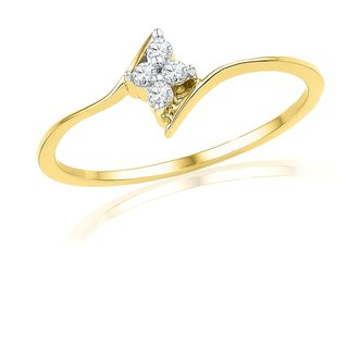 Ishis 18 Kt Classic Yellow Gold Diamond Fashion Ring (0.08 CT)