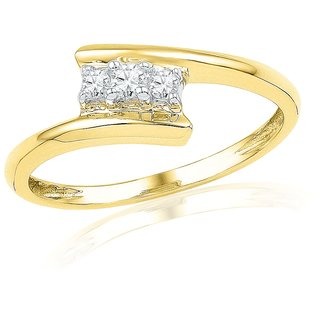 Ishis 18 Kt Ethnic Yellow Gold Diamond Fashion Ring (0.14 CT)