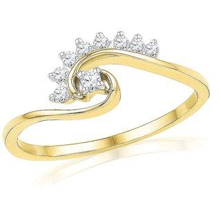 Ishis 18 Kt Fabulous Yellow Gold Diamond Fashion Ring (0.12 CT)