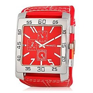 Water Resistant Quartz Movement Analog Watch With Faux Leather Strap (Red) M.