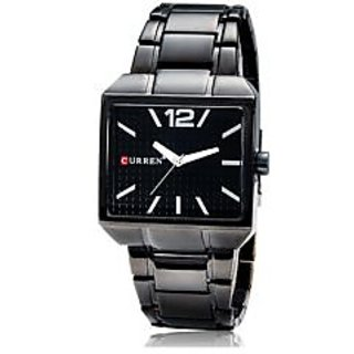 CURREN 8132 Men's Square Dial Analog Display Watch With Stainless Steel Strap (B