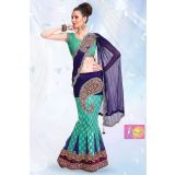 Royal Blue And Red One Minute Saree With Embroidery Work Lace Border Clone