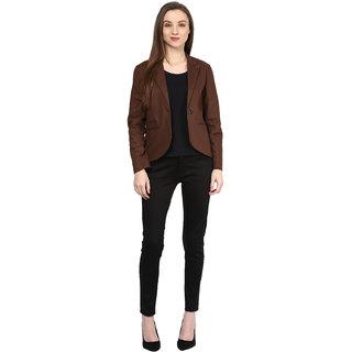 Shakumbhari Brown Cotton Blend Long Sleeve Solid Coat