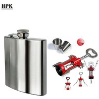 HPK Combo Of Wine Opener And Hip Flask With Free 1 Steel Short Glass (HPK00C3)
