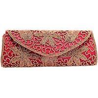 Kleio Fabric Pink Women Clutch