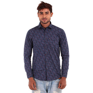 Purple Shirt with Red Blue Print