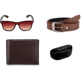 Rico Sordi Brown Sunglass + Belt + Wallet (Set of 3) RSSGWB007Brown