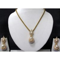 White Double Gota Chain Pendant Necklace Set