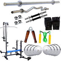 Fitfly Multipurpose 20 In 1 Bench Adjustable Combo Home Gym Set 35Kg Steel Plates +5Ft Plain Rod+3Ft Curl Rod With Gym Accessories