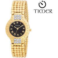 Timer Designer Black Round Dial Analog Girls Watch